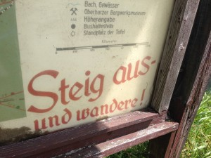 """""""Get out there and hike!"""" A trail map from a mountain range in central Germany."""