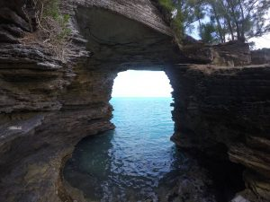 My favorite sample collection location: a natural limestone cave looking out over the ocean.